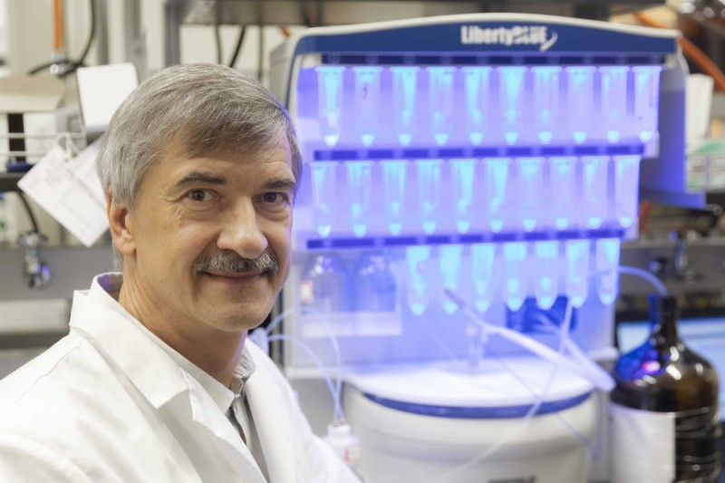 Chemistry Professor and Department Chair Eriks Rozners, winner of the Melville L. Wolfrom Award, photographed at his laboratory in the Smart Energy building at the Innovative Technologies Complex, September 10, 2020.