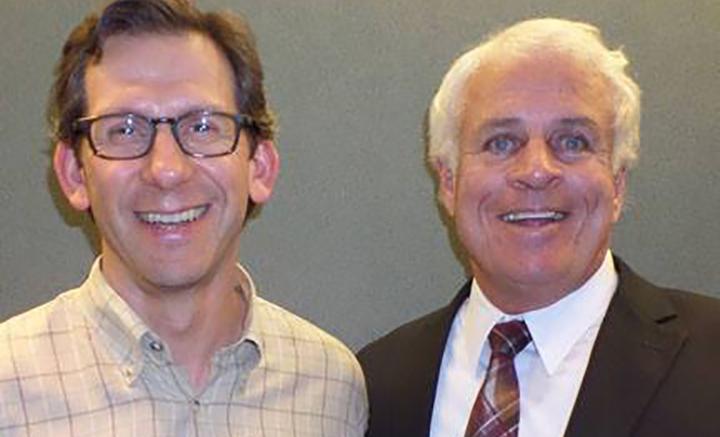Computer science alumnus Ken Goldblatt '87 (left) with associate professor William Ziegler.