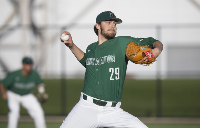 Ben Anderson, selected in the 13th round of the Major League Baseball draft by the Texas Rangers, was named America East Pitcher of the Year. He went 9-4 with a 2.76 ERA in 2019.