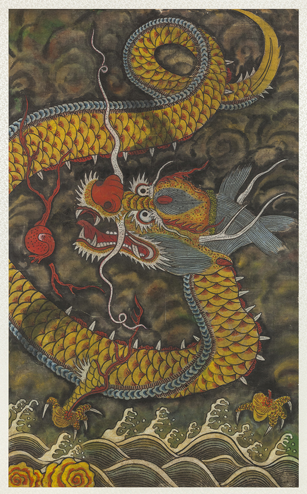 This ink and color on paper of a cloud dragon with a magic stone is on display at