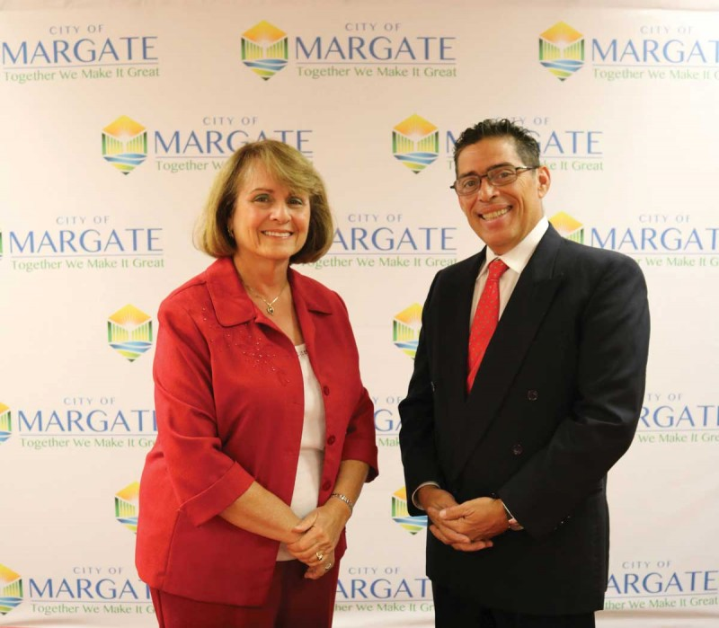 Arlene Schwartz, MA '73, and Anthony Caggiano '81 met while campaigning for city commissioner posts in Margate, Fl.