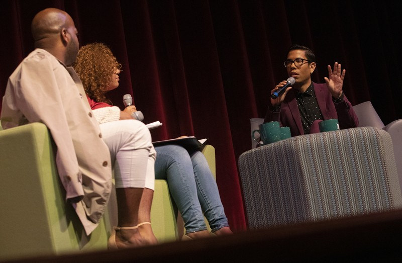 Steven Canals, right, takes part in a discussion about his time at Binghamton University and his role in the creation of the hit television show