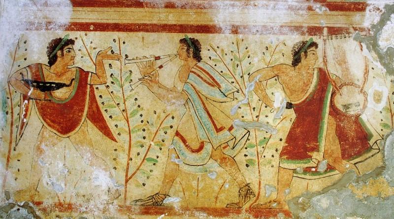 English: Dancers and musicians, tomb of the leopards, Monterozzi necropolis, Tarquinia, Italy. UNESCO World Heritage Site.