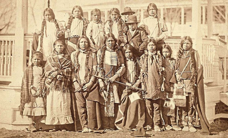 A group of Northern Arapaho and Shoshone children arrive at Carlisle on March 11, 1881.