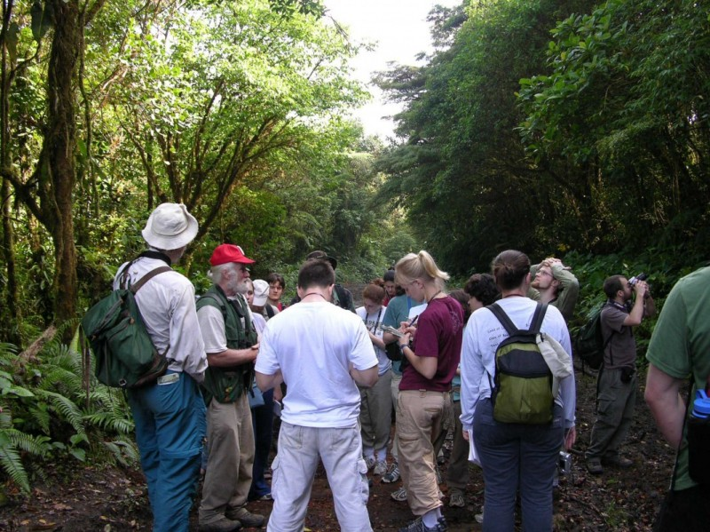 Professor Dick Andrus takes students on a walk through the Costa Rica rainforest.