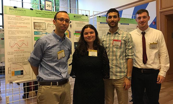 From left to right: Assistant professor Scott Schiffres, Rebecca Loibl, Morteza Bagheri and Matthias Daeumer.