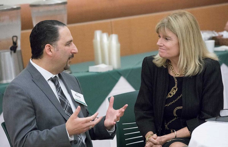 Mario Ortiz, dean of the Decker School of Nursing, discusses the need to improve care for the elderly with gerontology expert Terry Fulmer, keynote speaker at the first lecture presented by the school's Kresge Center for Nursing Research.
