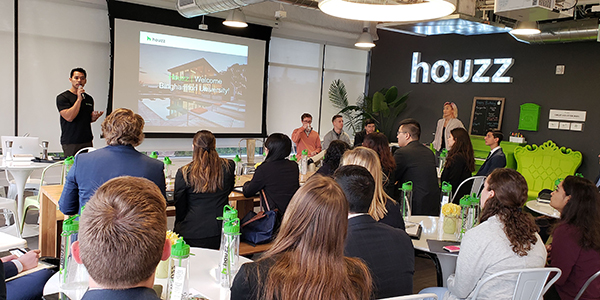 Binghamton University students on an employer visit in California to Houzz, a firm that has developed a website and online community about architecture, interior design, decorating, landscape design and home improvement.