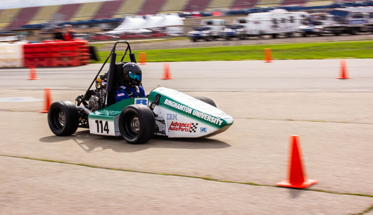 The Binghamton Motorsports Formula team benefits from IBM support and prominently displays the company's logo on its vehicle.
