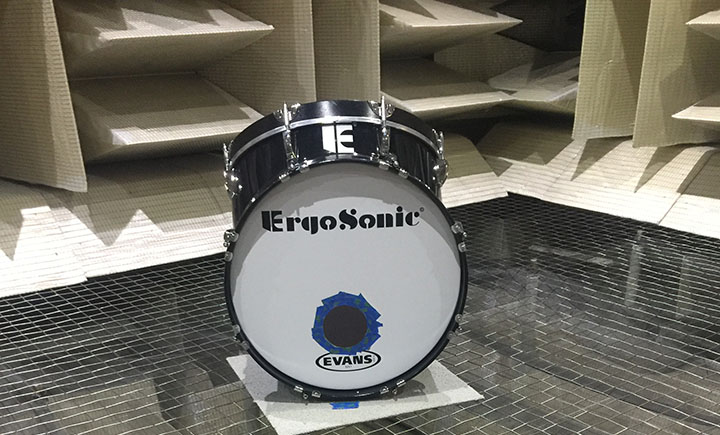 An ErgoSonic drum inside the anechoic chamber.
