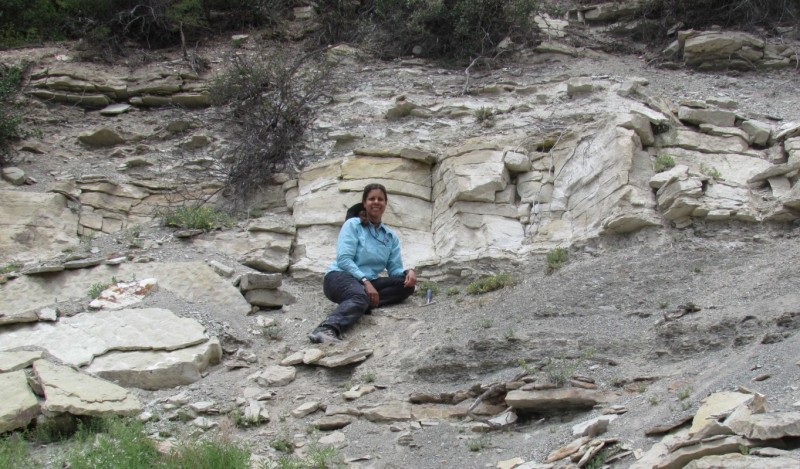 Kuwanna Dyer-Pietras, a Presidential Diversity Postdoctoral Fellow in the Department of Geological Sciences, in the field.
