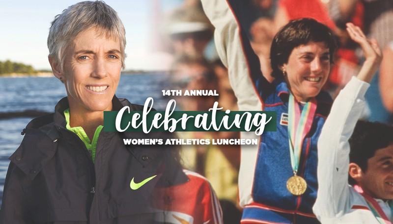 Marathon great Joan Benoit Samuelson will speak at the 14th Annual Celebrating Women's Athletics Luncheon on Feb. 4. Graphic by Sydney Harbaugh