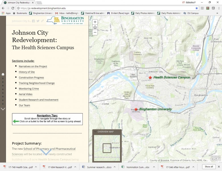 A screen shot of the Johnson City Redevelopment Story Map, which includes demographic information, video interviews, aerial footage and more documenting the current status of the neighborhood where the Binghamton University Health Sciences Campus is being constructed. jc-redevelopment.binghamton.edu.