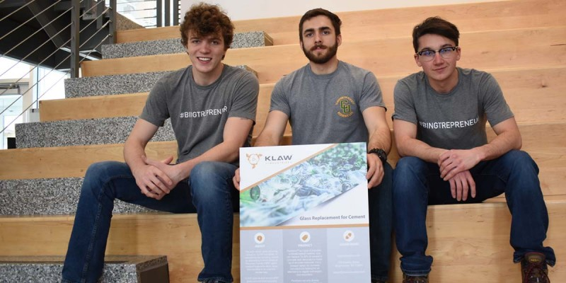 The founders of KLAW Industries are, from left, Clarkson University students Jack Lamuraglia and Tanner Wallis; and Binghamton University junior Jacob Kumpon.