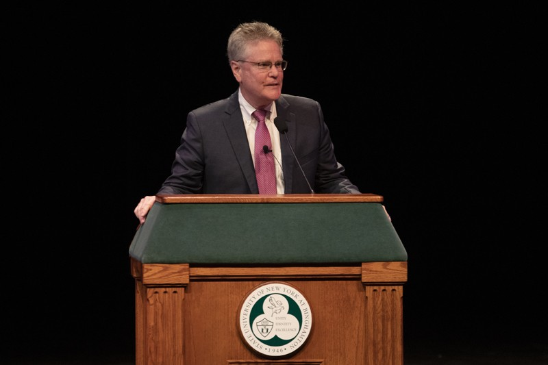 Terence Keane speaks to the students, faculty, administrators and community members during the 2019 Stephen A. Lisman Lecture, held Sept. 9 at Watters Theater.