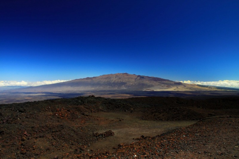 The Mauna Kea volcano in Hawaii, seen from the Mauna Loa Observatory.