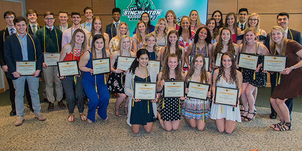 Forty-four student-athletes were inducted into the National College Athlete Honor Society (Chi Alpha Sigma).
