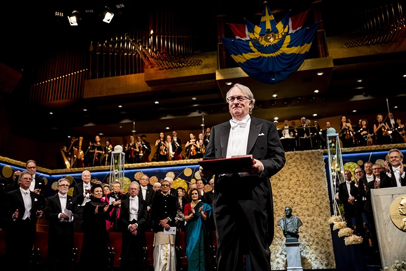 M.Stanley Whittingham is honored at the Nobel ceremony at the Stockholm Concert Hall on Dec. 10, 2019.