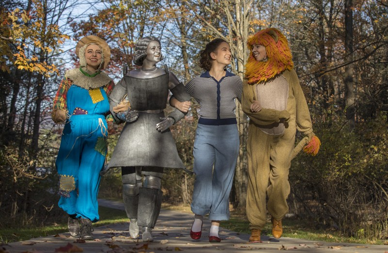 Stephanie Moreno (the Scarecrow), Marisa Cartusciello (the Tin Man), Christine Skorupa (Dorothy) and Margaret Leisenheimer (the Cowardly Lion) star in the Theatre Department's musical production of