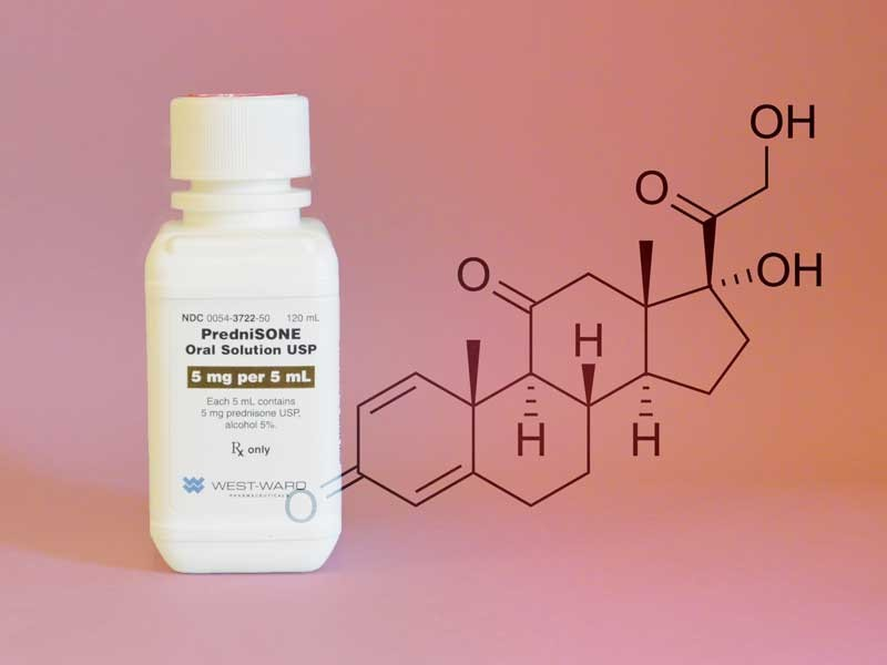 Prednisone is a corticosteroid (cortisone-like medicine or steroid) that works on the immune system to help relieve swelling, redness, itching and allergic reactions.