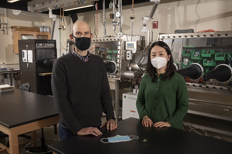 Jeffrey Mativetsky, associate professor of physics, and Ahyeon Koh, assistant professor of biomedical engineering, are developing a prototype of an inexpensive face mask that can provide real-time monitoring of respiratory diseases such as COVID-19.
