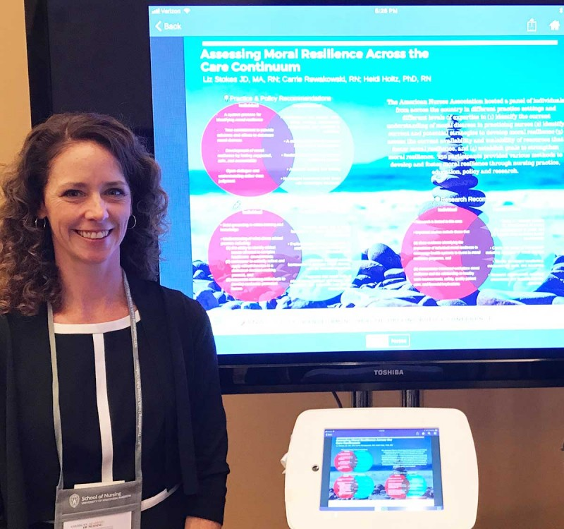 Carrie Rewakowski, a doctoral student in the Decker School of Nursing, presented work she and a team of researchers completed on moral resiliency at the 2017 American Academy of Nursing Conference.