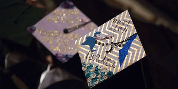Decorated mortarboards were all the rage at Binghamton University's nine Commencement ceremonies this past weekend, including this one sported at the Tekes Siyum ceremony held for observant Jewish students.