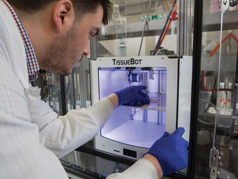 Kyle Reeser, MS '14, a biomedical engineering PhD student, has built a 3-D bioprinter he calls the TissueBot. When he wants to upgrade a component of the TissueBot, he does much of the work himself, from designing the part to finding the necessary materials.