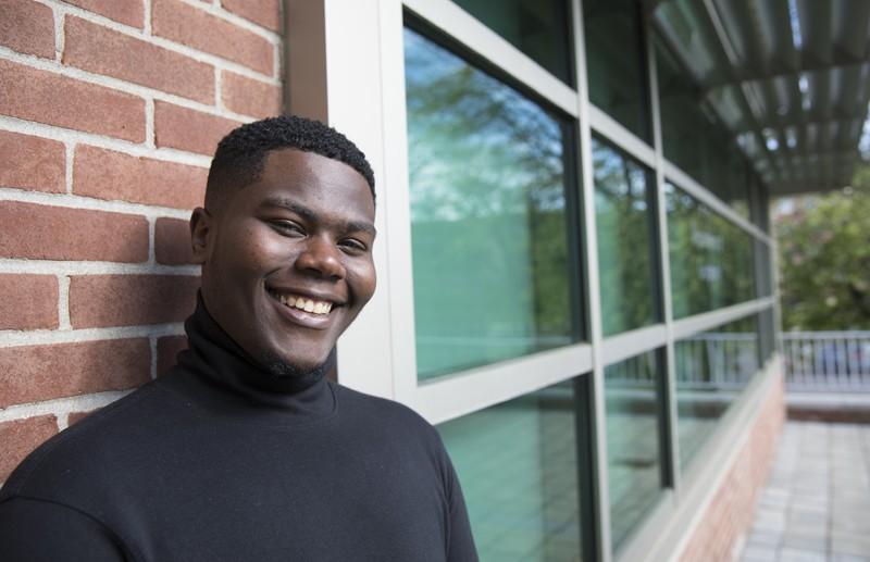 Frank Tolbert, who received his bachelor's degree in geography, will remain at Binghamton University to pursue his master's degree.
