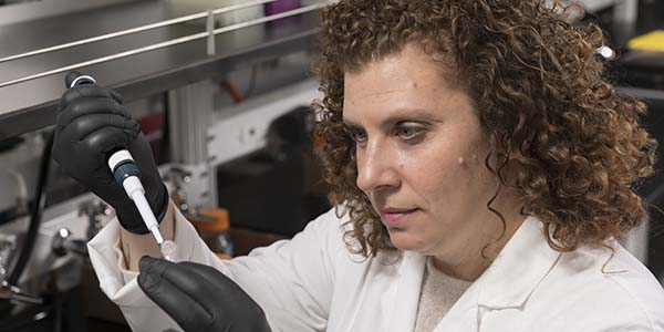 Tracy Brooks, assistant professor of pharmaceutical sciences and Menner Faculty Fellow at the School of Pharmacy and Pharmaceutical Sciences, is searching for better ways to treat cancer.