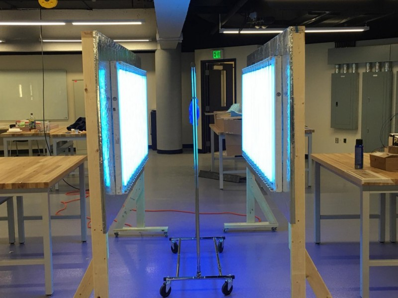 Ultraviolet sterilization stations, built in the Watson School's Fabrication Lab, are being delivered to UHS and Lourdes for their fight against COVID-19.