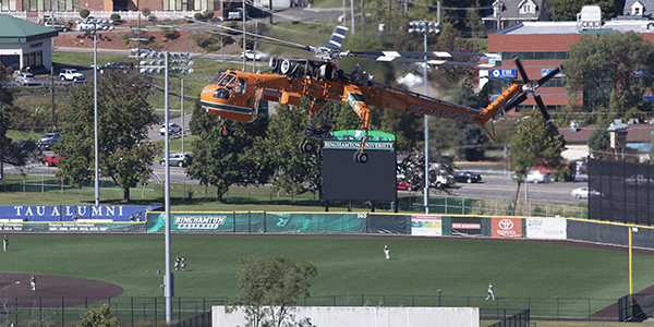 This Erickson Air-Crane helicopter — named Bubba after a 2016 hurricane — lifted two 13,000-lb. chillers one at a time from an Events Center parking lot to the roof of Science 3 early the morning of Saturday, Sept. 28. Referred to by pilot Brad Warren as the Swiss Army knife of the helicopter world, the craft requires three pilots to fly it — two facing front and one facing back.