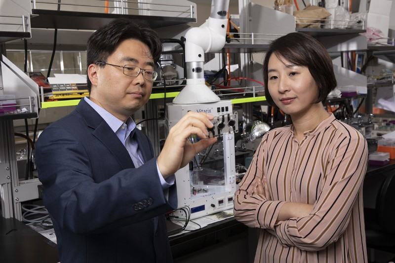Seokheun (Sean) Choi, associate professor of electrical and computer engineering and Ahyeon Koh, assistant professor of biomedical engineering, work at Choi's lab at the Engineering and Science Building in the Innovative Technologies Complex at Binghamton University's Watson School of Engineering and Applied Science.