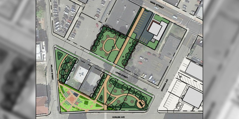 A rendering of the park being developed in Johnson City to connect the Health Sciences Campus with the downtown business district.