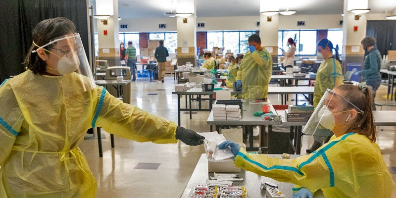 The Binghamton University rapid COVID-19 testing site at the Mandela Room and Old Union Hall in the University Union.