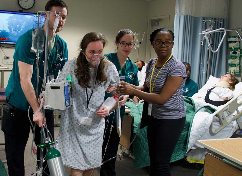 Triaging patients, communicating in an emergency and following your organization's disaster plan are among the skills student nurses practice during the annual disaster drill held in the Decker School of Nursing.