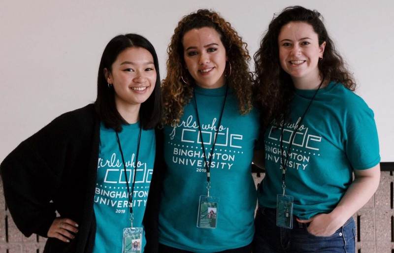Watson School students Fiona Liang '19, left; Kasey Hill '18, MBA '19, center; and Caitlin Hall '19 founded the Binghamton University chapter of Girls Who Code in early 2019.