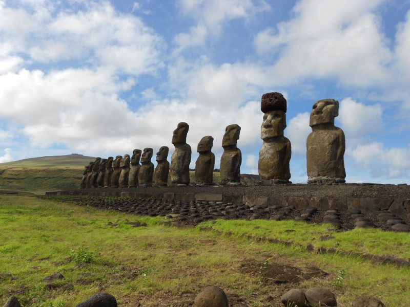 This is a restored statue platform with standing moai on the south coast of Rapa Nui.