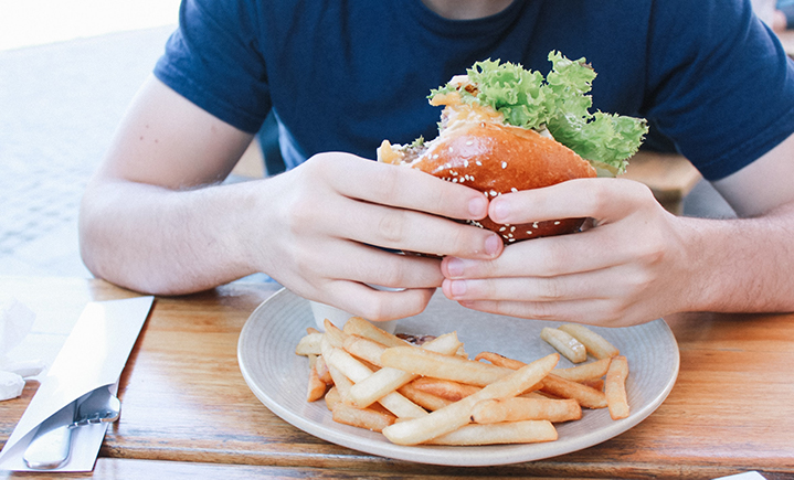 According to a study conducted by Binghamton's Lina Begdache, a diet high in fast food and caffeine can cause young men (ages 18-29) to experience greater levels of anxiety and depression.