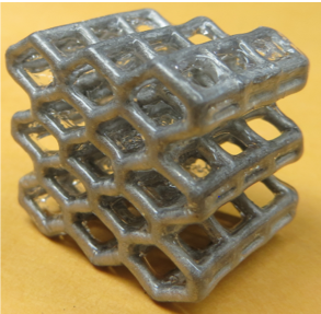 As part of research on liquid metal lattices created a series of prototypes that returned to their shapes when crushed, including a honeycomb-like structure.