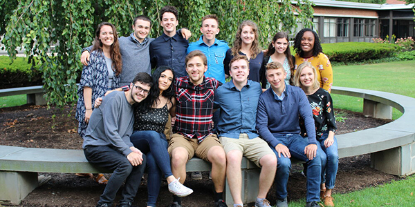 Alex Leopold, second from left in the back row, with members of Note to Self, the community service a cappella group. He currently serves as the group's president.