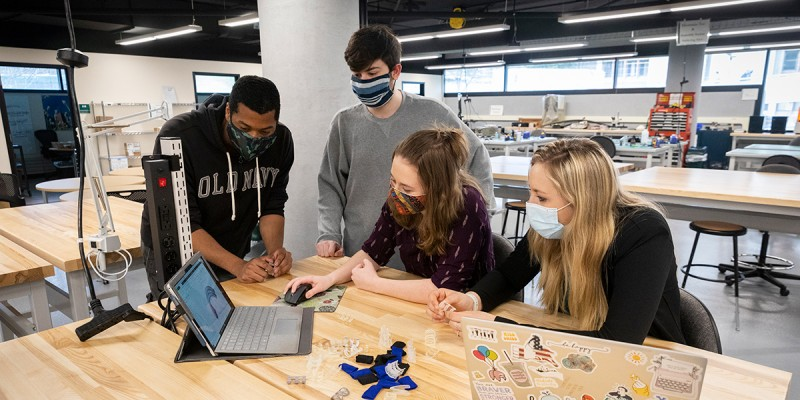 Watson College students (from left) Nasiah Brown, Ben Wolin, Angelina Mitchell and Melanie Lyons used 3D printing to create an orthosis.