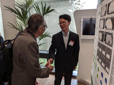 Jiefeng Xu presents his research at the Electronics Packaging Symposium.