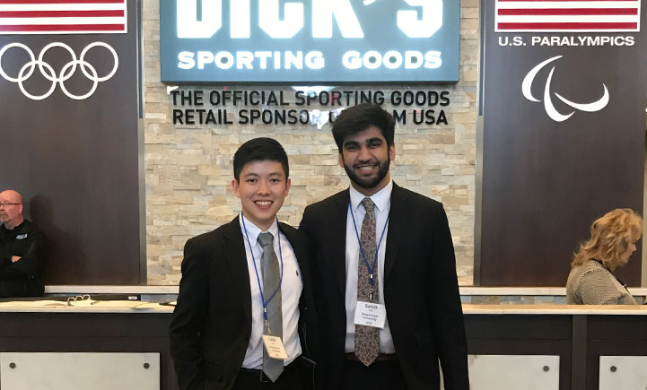 Caleb Jiang (left) and Satvik Sethi (right) at Dick's Sporting Goods company headquarters.