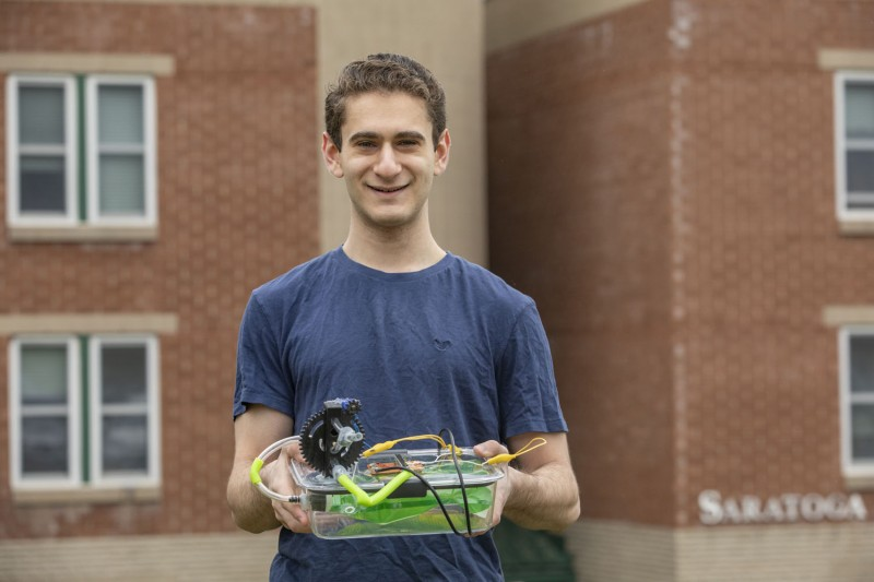 Jacob Goodman, a junior studying mechanical engineering at Thomas J. Watson School of Engineering and Applied Science, made a ventilator at his Saratoga residence in the Hillside Community mainly using items he bought at Walmart.