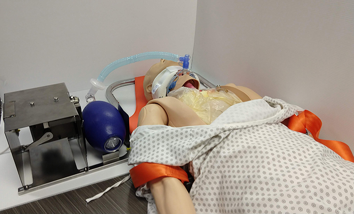 Binghamton University Foundation employee Dave Reyner is working with a team to create a device that eliminates the need for a healthcare worker to squeeze a manual resuscitator, freeing personnel to care for other patients. This is the first prototype of the invention, called B Resuscitator.