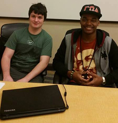 Jason Smith and T.J. Buttgereit before one of their debates.