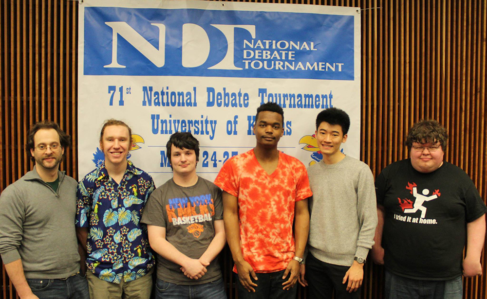 Jason Smith and the rest of the Binghamton Speech and Debate Team at the National Debate Tournament in Kansas in March.