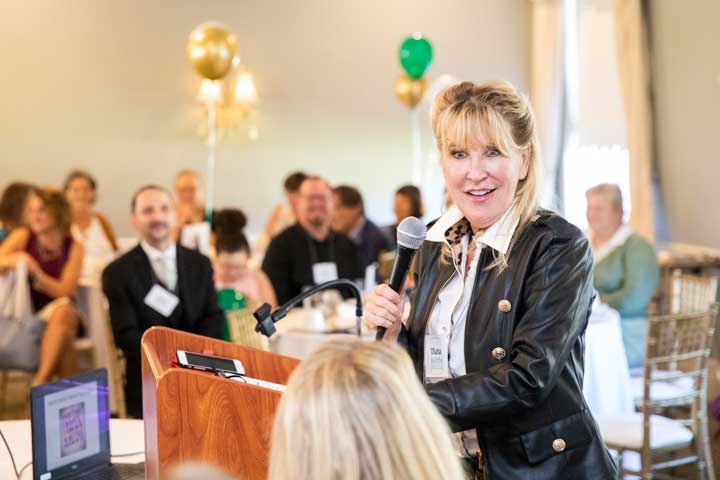 Motivational speaker and comedian Diana Jordan gave the keynote address at Decker's 50th Anniversary Luncheon.