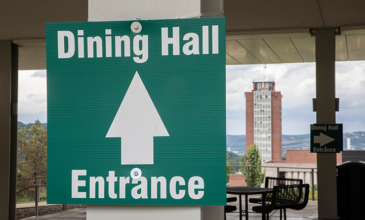 Dining halls will have one clearly marked entrance and exit